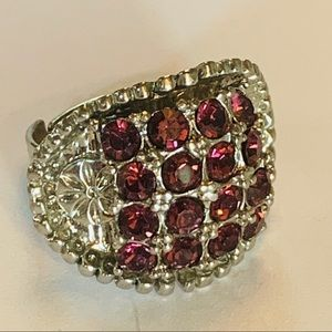💐5/25 large red crystal bling statement silver